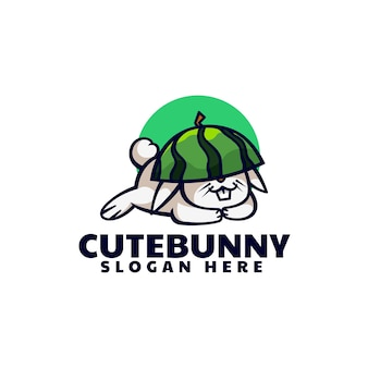 Illustration logo vector style dessin animé mascotte lapin mignon