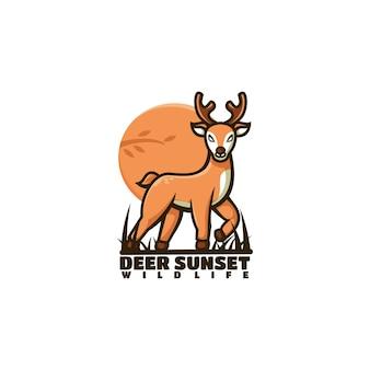 Illustration logo vectoriel cerf coucher soleil dans style mascotte simple