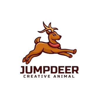 Illustration logo vectoriel cerf dans style mascotte simple