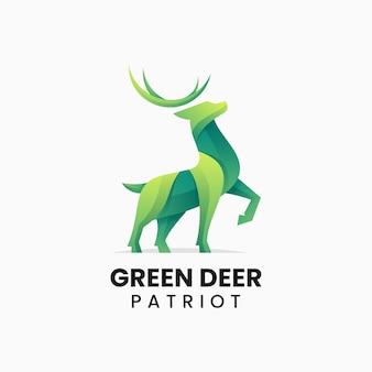 Illustration logo vectoriel cerf vert dans style coloré dégradé
