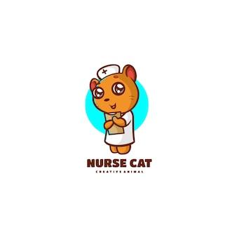 Illustration logo vectoriel chat infirmière mascotte dans style dessin animé