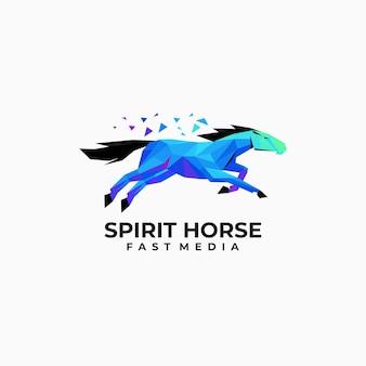 Illustration logo vectoriel cheval style dégradé low poly