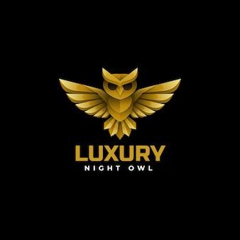 Illustration logo vectoriel chouette couleur or style luxe