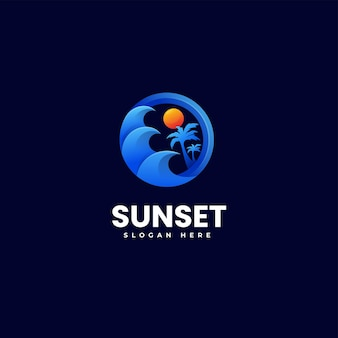 Illustration logo vectoriel coucher soleil dégradé style coloré