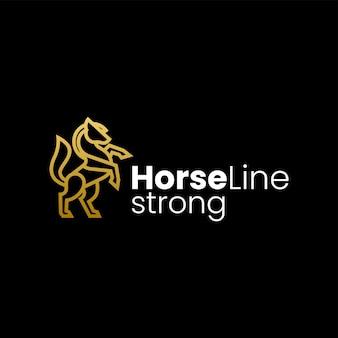 Illustration logo vectoriel dans style art ligne cheval