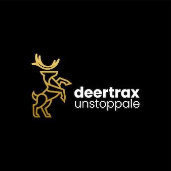 Illustration logo vectoriel dans style art ligne dégradé cerf