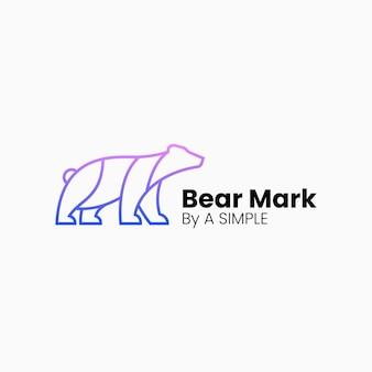 Illustration logo vectoriel dans style art ligne dégradé ours