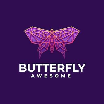 Illustration logo vectoriel dans style art ligne dégradé papillon