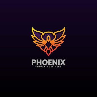 Illustration logo vectoriel dans style art ligne dégradé phoenix