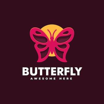 Illustration logo vectoriel dans style art ligne papillon