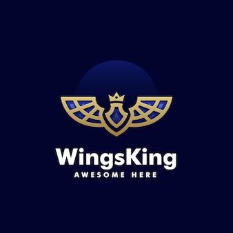 Illustration logo vectoriel dans style art ligne roi ailes