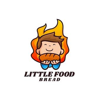 Illustration logo vectoriel dans style cartoon mascotte pain garçon