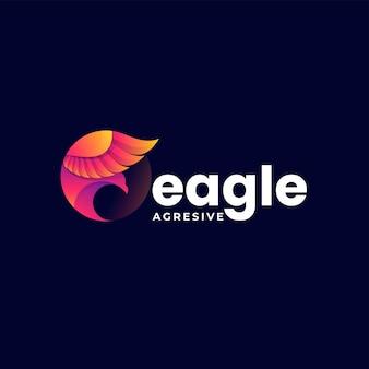 Illustration logo vectoriel dans style coloré dégradé aigle
