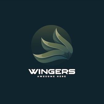 Illustration logo vectoriel dans style coloré dégradé ailes