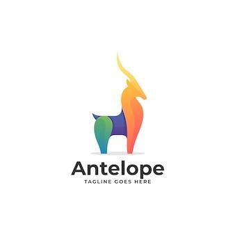 Illustration logo vectoriel dans style coloré dégradé antilope