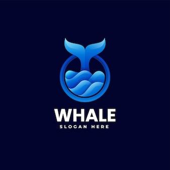 Illustration logo vectoriel dans style coloré dégradé baleine