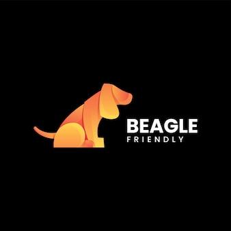 Illustration logo vectoriel dans style coloré dégradé beagle