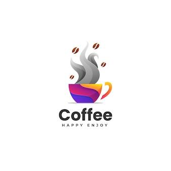 Illustration logo vectoriel dans style coloré dégradé café