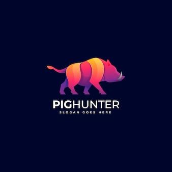 Illustration logo vectoriel dans style coloré dégradé chasseur cochon