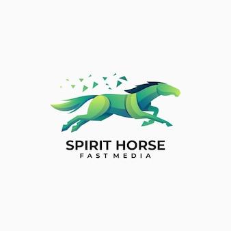 Illustration logo vectoriel dans style coloré dégradé cheval