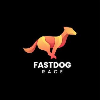 Illustration logo vectoriel dans style coloré dégradé chien rapide