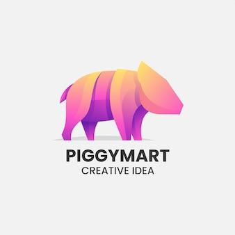 Illustration logo vectoriel dans style coloré dégradé cochon