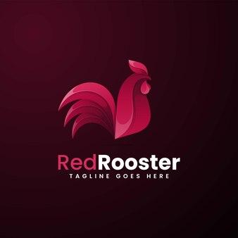 Illustration logo vectoriel dans style coloré dégradé coq rouge