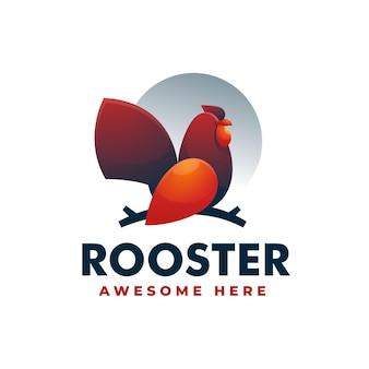 Illustration logo vectoriel dans style coloré dégradé coq
