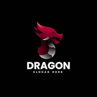 Illustration logo vectoriel dans style coloré dégradé dragon