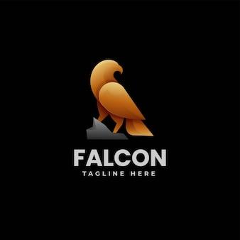 Illustration logo vectoriel dans style coloré dégradé faucon
