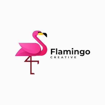 Illustration logo vectoriel dans style coloré dégradé flamant
