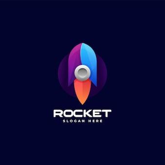 Illustration logo vectoriel dans style coloré dégradé fusée