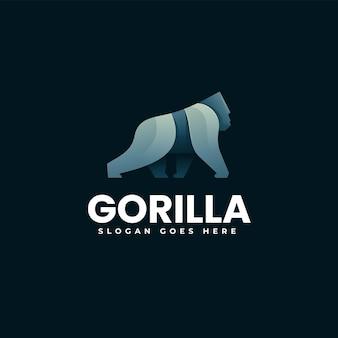Illustration logo vectoriel dans style coloré dégradé gorille
