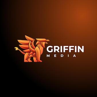 Illustration logo vectoriel dans style coloré dégradé griffin