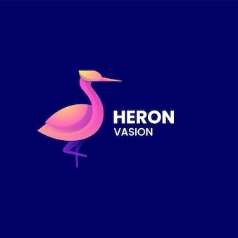 Illustration logo vectoriel dans style coloré dégradé héron