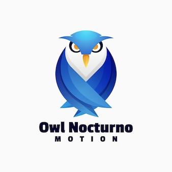 Illustration logo vectoriel dans style coloré dégradé hibou