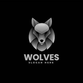 Illustration logo vectoriel dans style coloré dégradé loup
