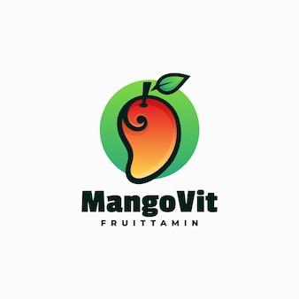 Illustration logo vectoriel dans style coloré dégradé mangue