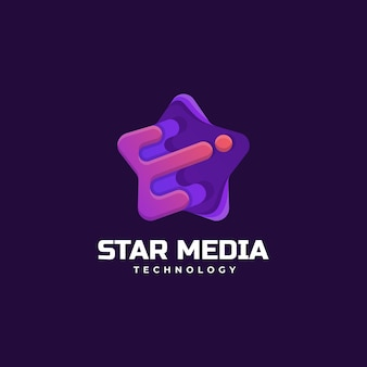 Illustration logo vectoriel dans style coloré dégradé médias star