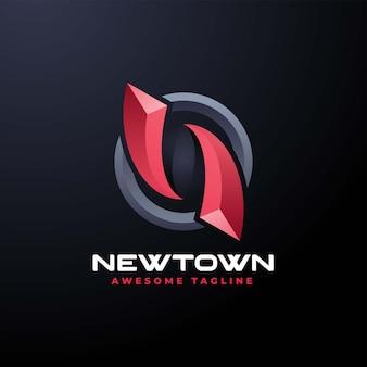 Illustration logo vectoriel dans style coloré dégradé newton