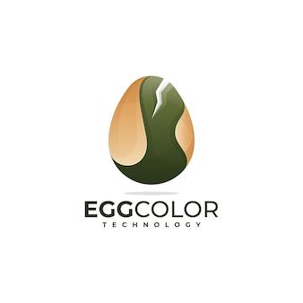 Illustration logo vectoriel dans style coloré dégradé oeuf