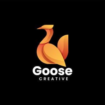 Illustration logo vectoriel dans style coloré dégradé oie