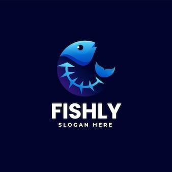 Illustration logo vectoriel dans style coloré dégradé os poisson