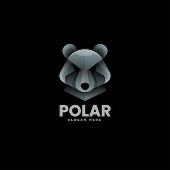 Illustration logo vectoriel dans style coloré dégradé ours polaire