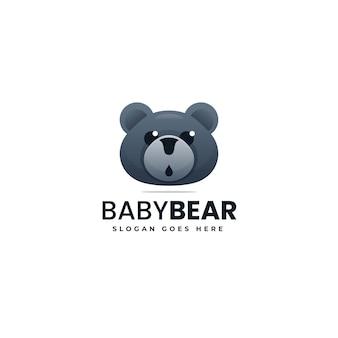 Illustration logo vectoriel dans style coloré dégradé ours
