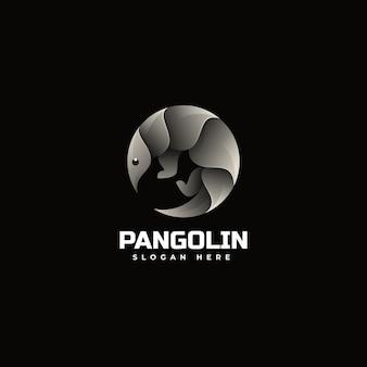 Illustration logo vectoriel dans style coloré dégradé pangolin