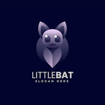 Illustration logo vectoriel dans style coloré dégradé petite chauve-souris