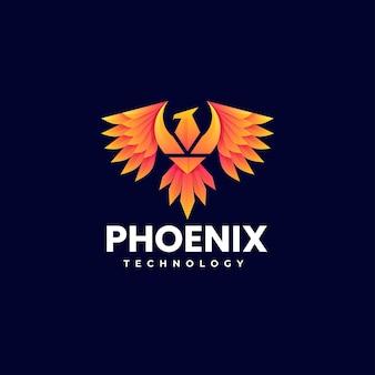 Illustration logo vectoriel dans style coloré dégradé phoenix
