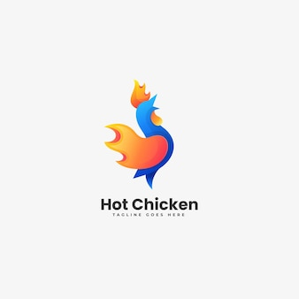 Illustration logo vectoriel dans style coloré dégradé poulet