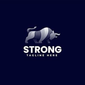 Illustration logo vectoriel dans style coloré dégradé taureau fort